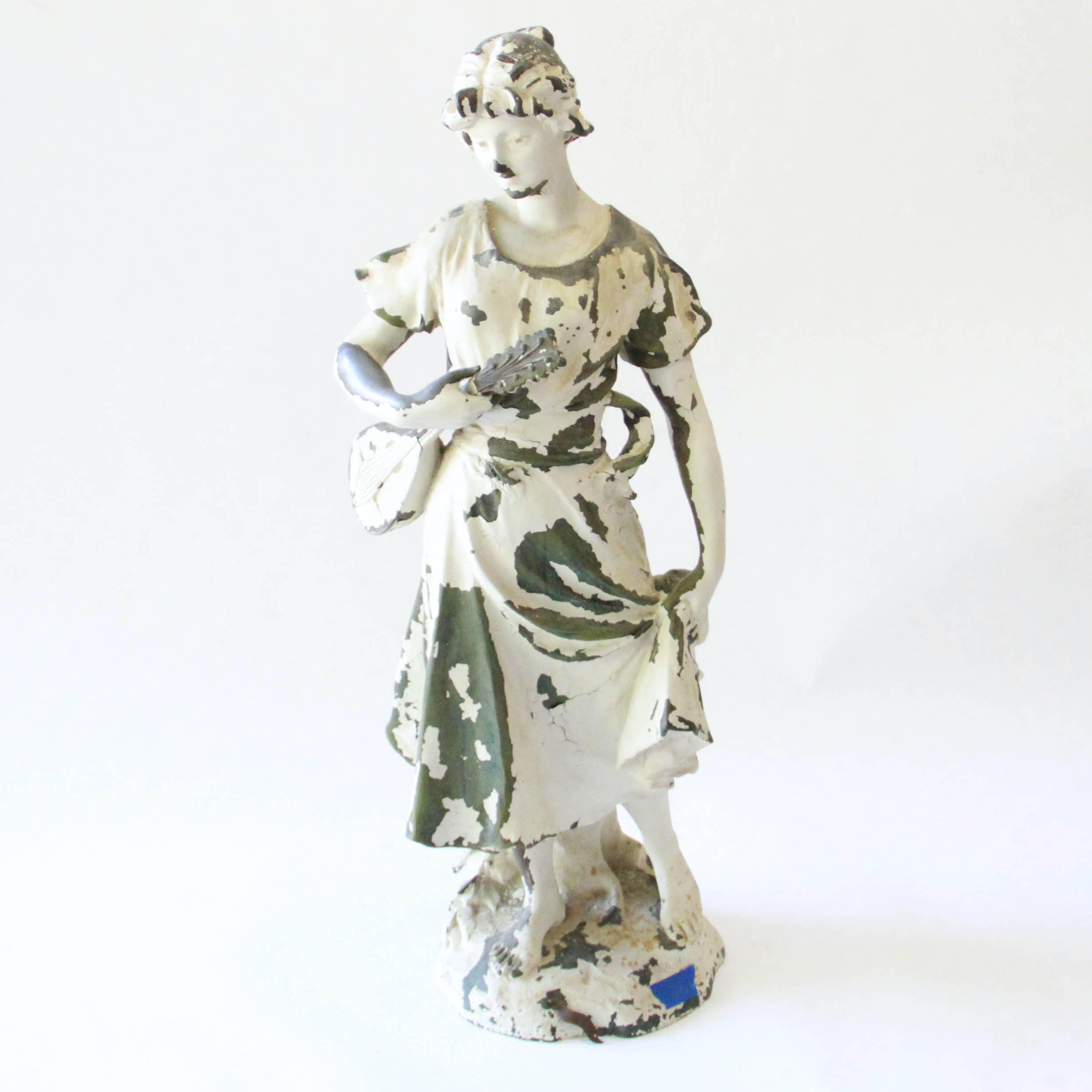 """After Henri Louis LeVasseur Metal Garden Statue """" La Chanson"""""""