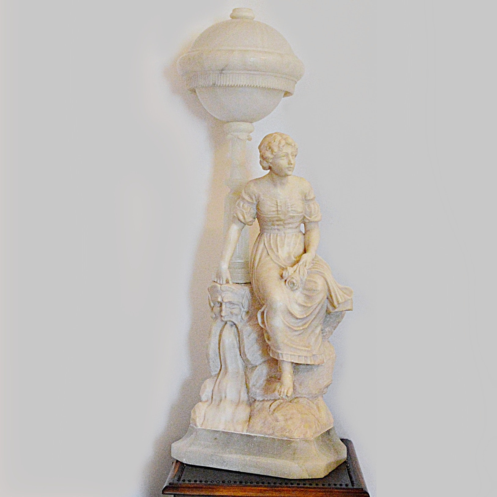 Exceptional Antique Carved Alabaster, Marble + Onyx Statuary Lamp