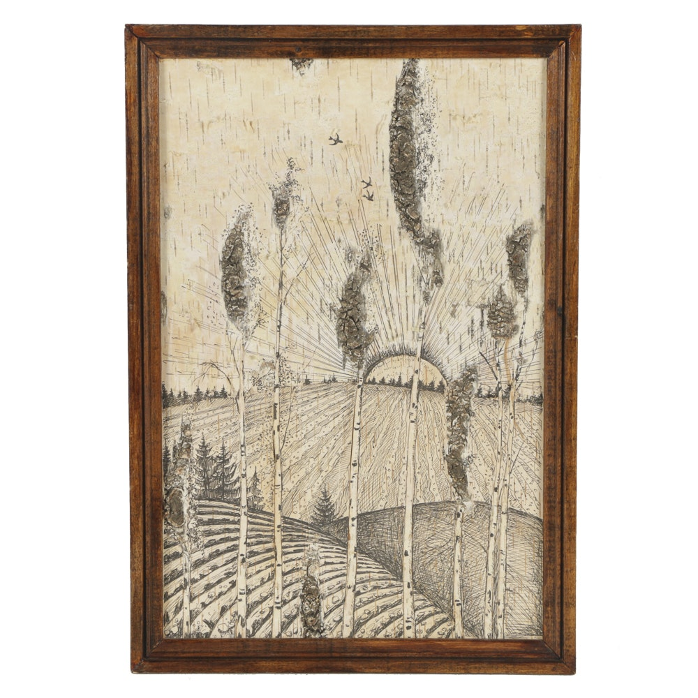 Ink Drawing on Wood Panel Landscape of Birch Trees