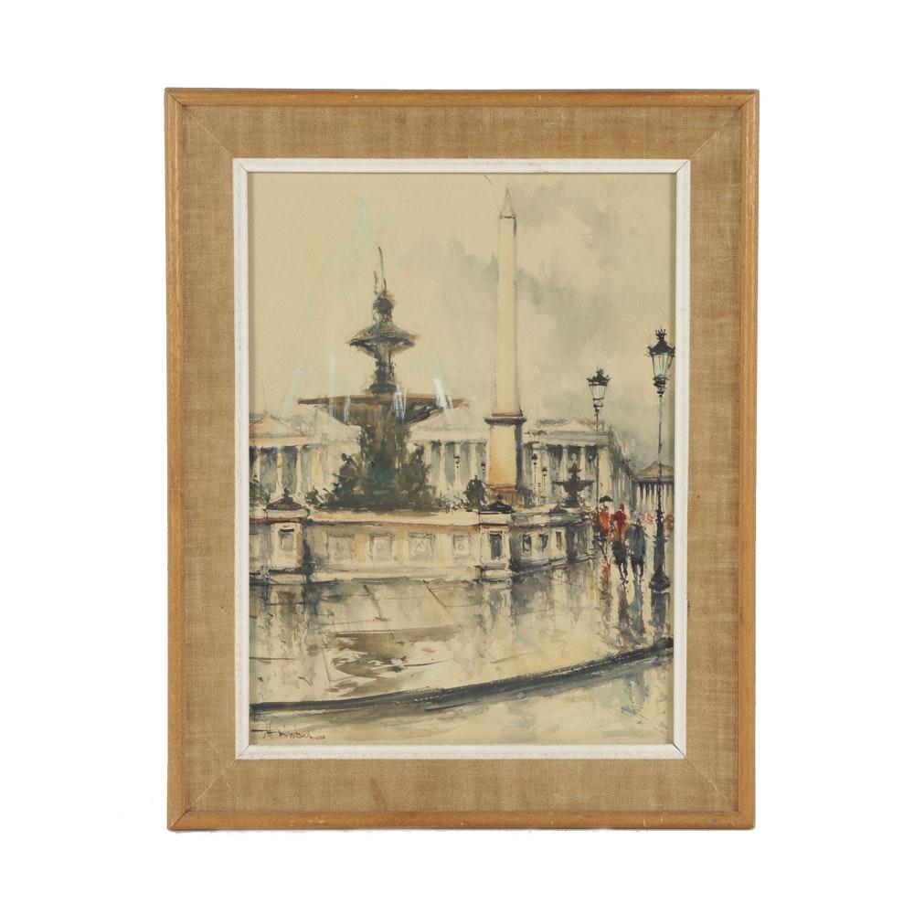 """M. Siguel Watercolor on Paper """"Paris Place De La Concorde"""""""
