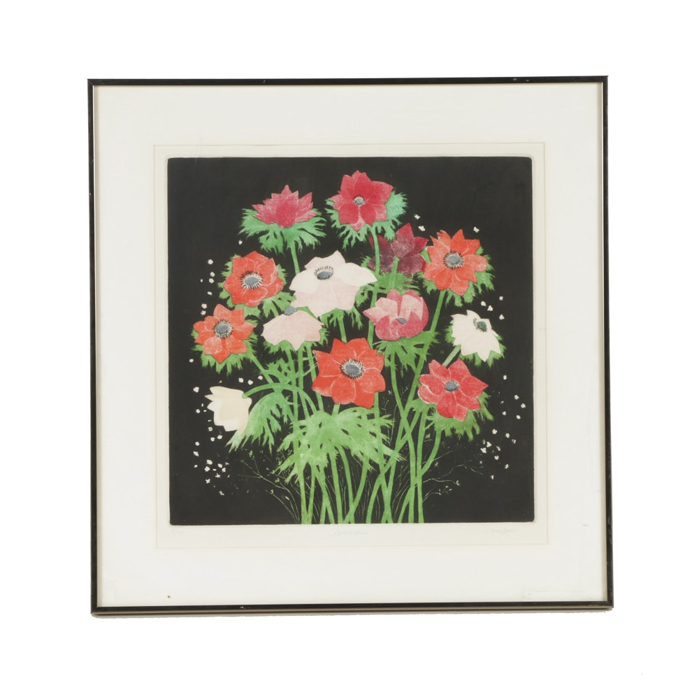 "Janet Compere Limited Edition Serigraph on Paper ""Anemones"""