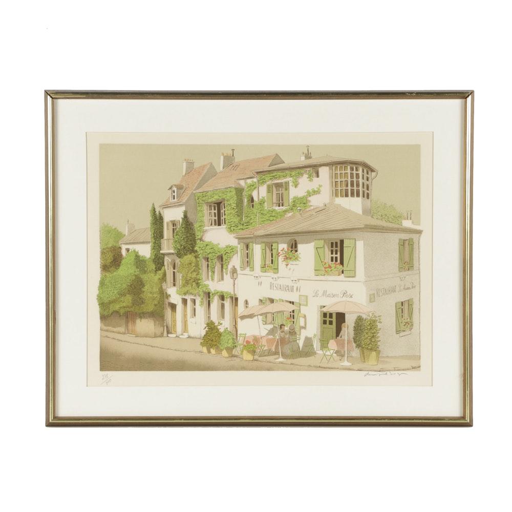 """Dennis Paul Noyer Limited Edition Lithograph on Paper """"La Maison Rose"""""""