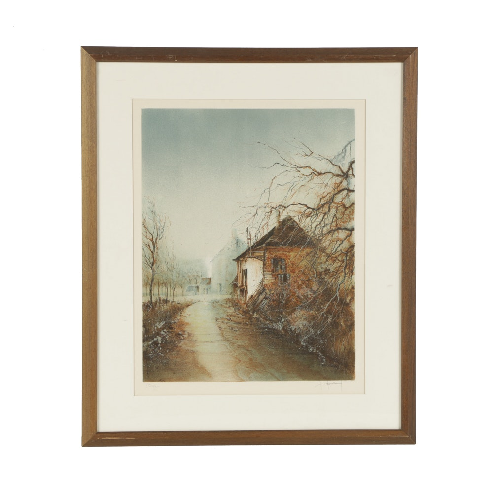 Signed Limited Edition Lithograph on Paper of Rural Landscape