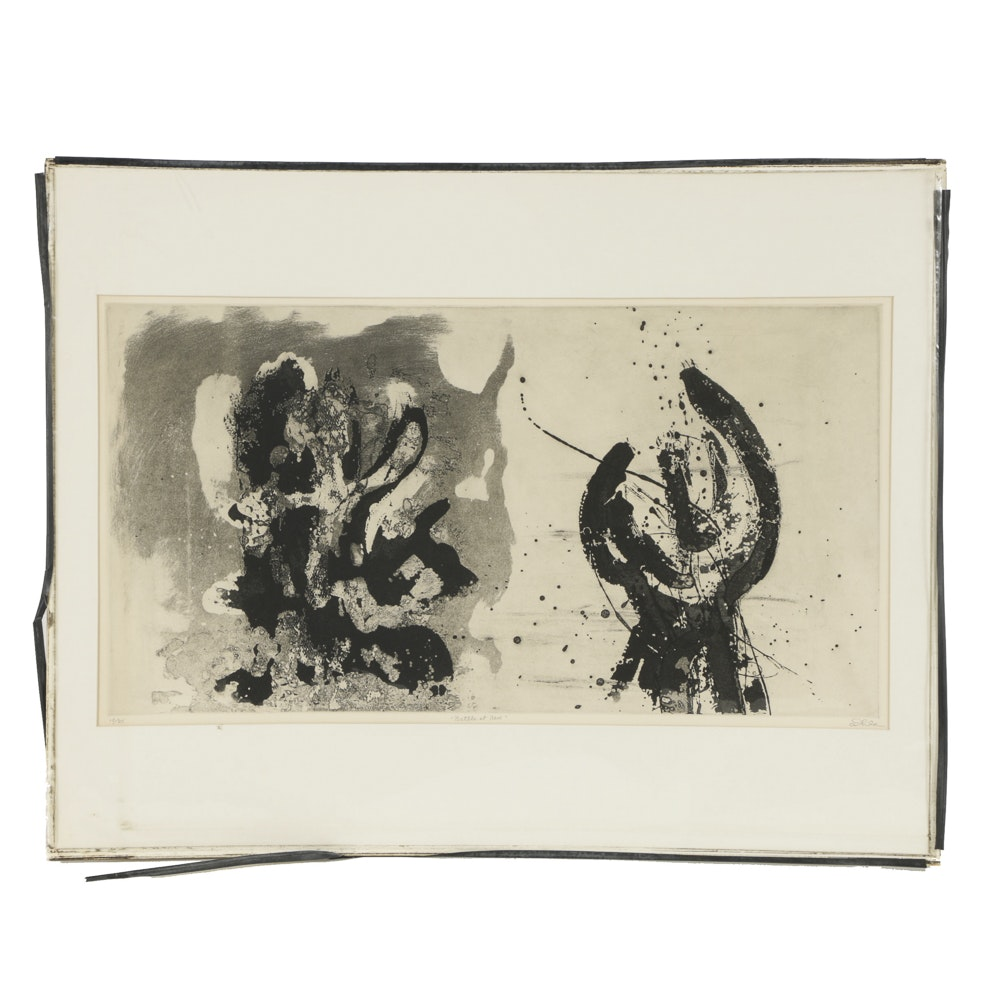 """John Ihle Limited Edition Etching """"Battle at Acre"""""""