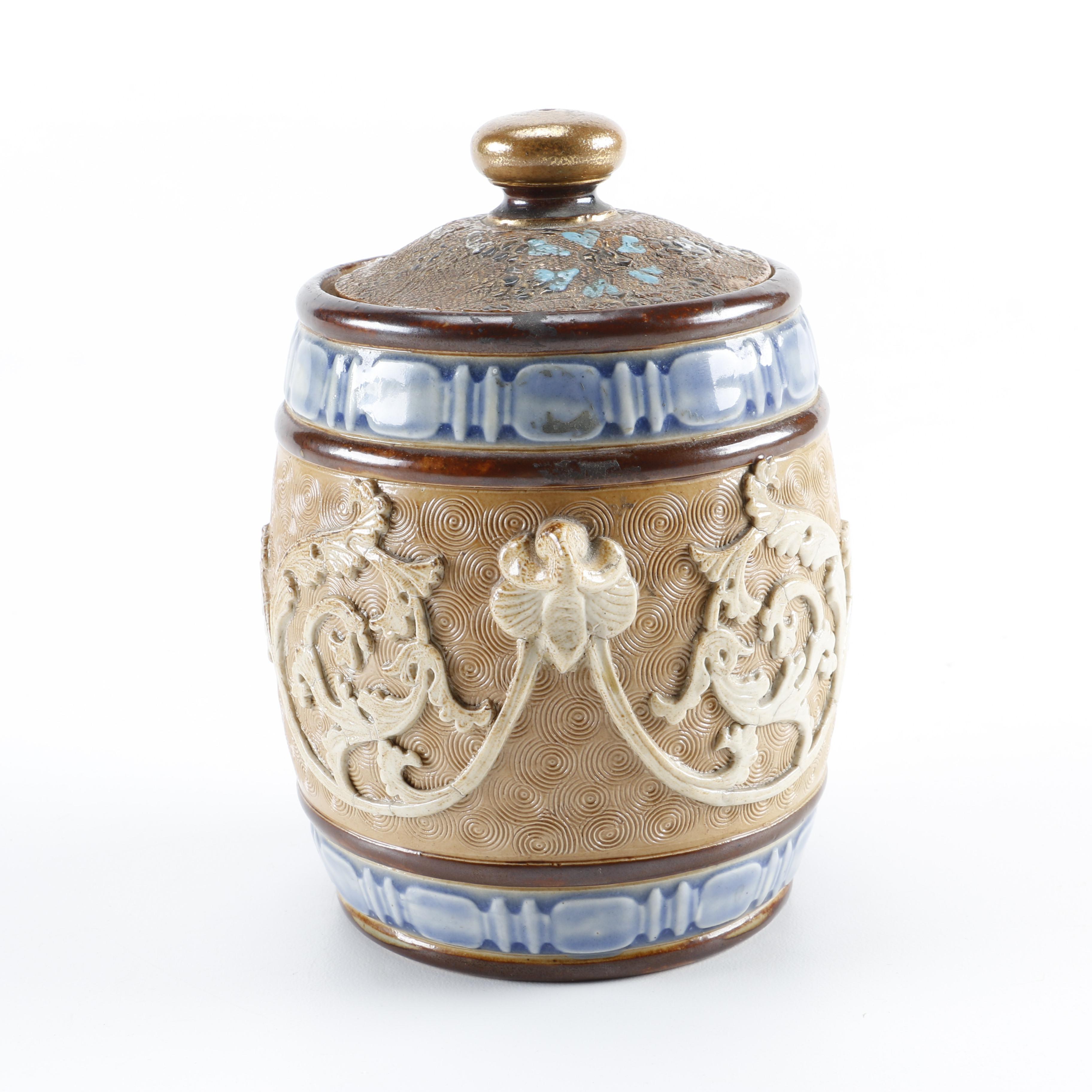 Early 20th-Century Royal Doulton Ceramic Tobacco Jar