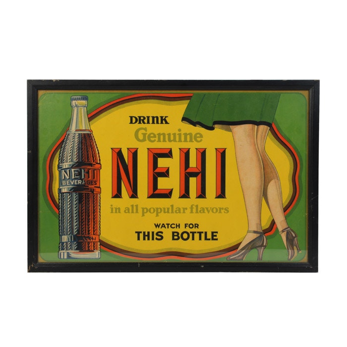 Original Halftone Lithograph Advertisement for Nehi Beverages