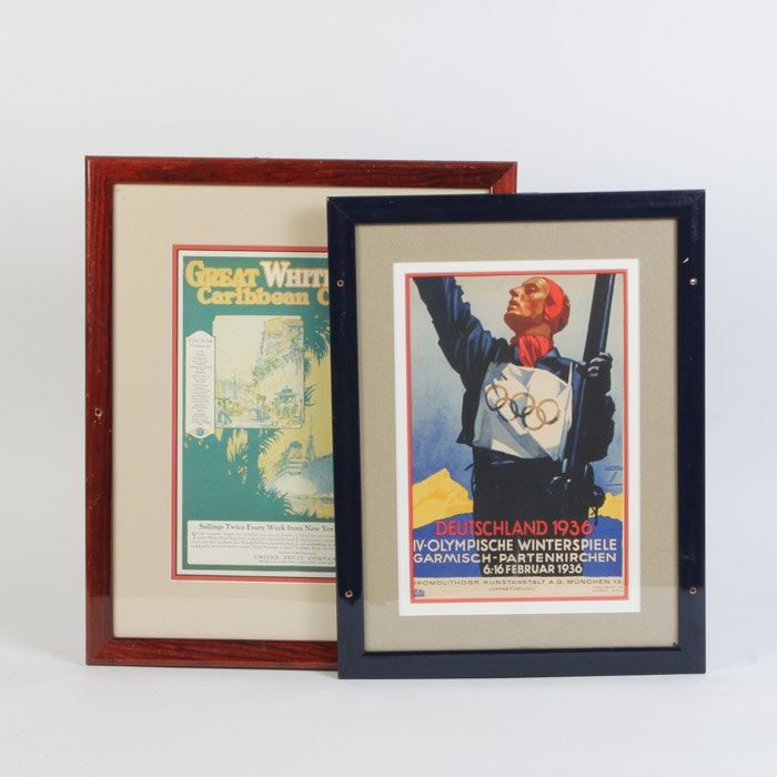 Pair of Vintage Advertisements Featuring An Ad for the 1936 Winter Olympics