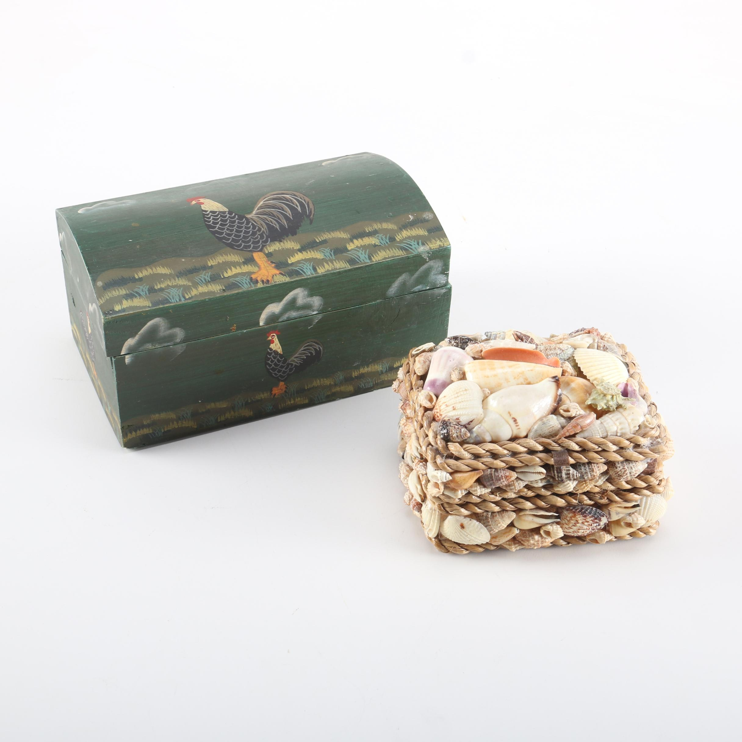 Hand-Painted Jewelry Box and Trinket Box With Shell
