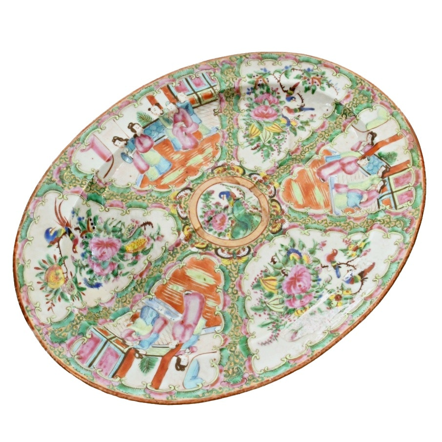 Chinese Export Rose Medallion Meat Platter