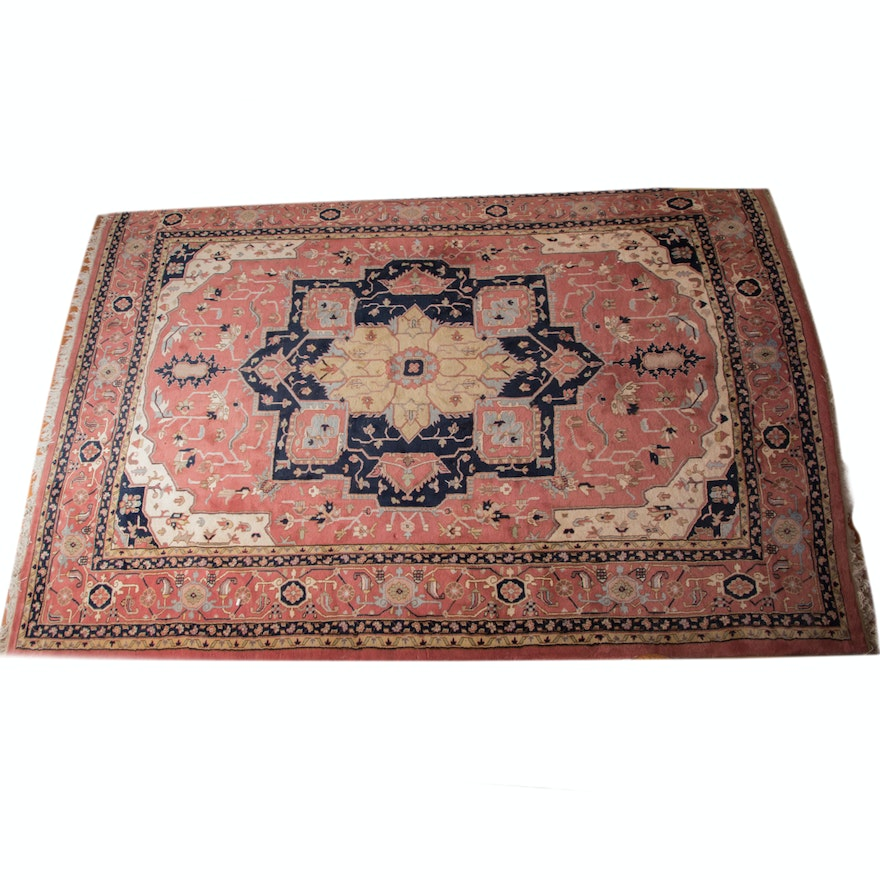 Hand Knotted Persian Wool Area Rug Ebth: Large Hand-Knotted Persian Heriz Area Rug