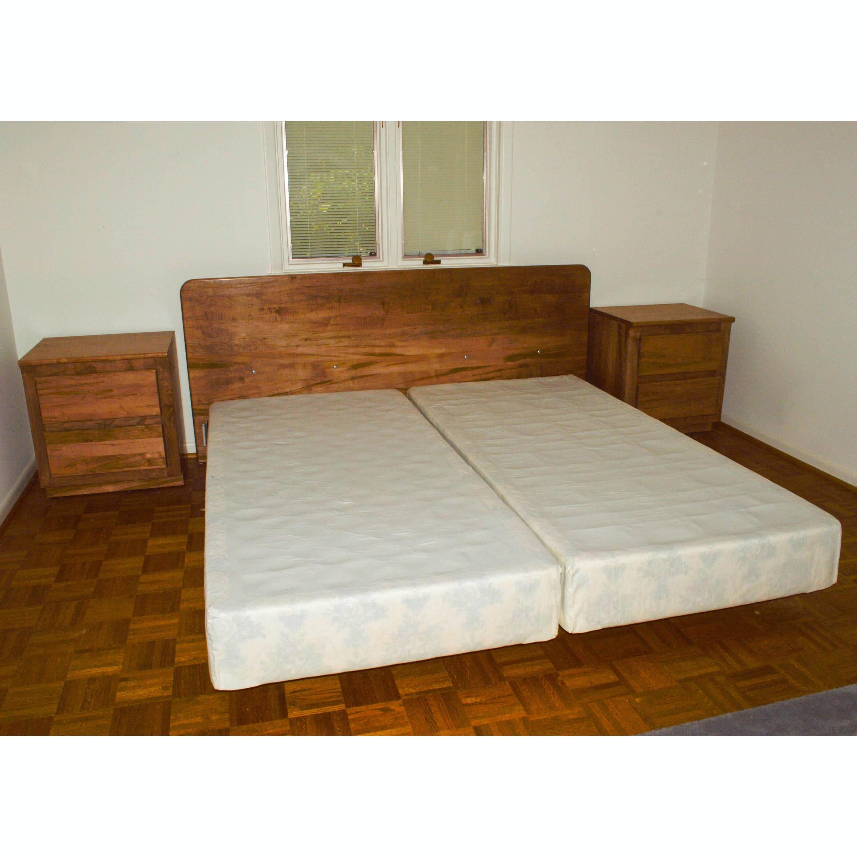 Danish Modern Custom King Size Split-Frame Bed and Nightstands