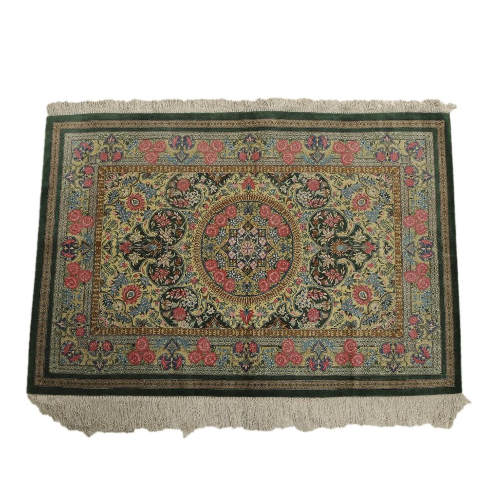 Late 20th-Century Handwoven Persian Silk Rug