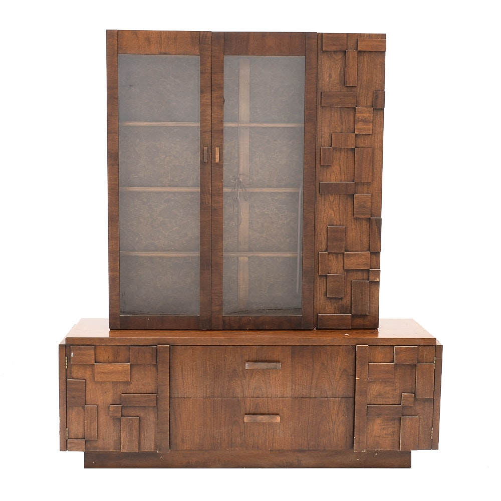 Brutalist Style Walnut Credenza and Cabinet by Lane