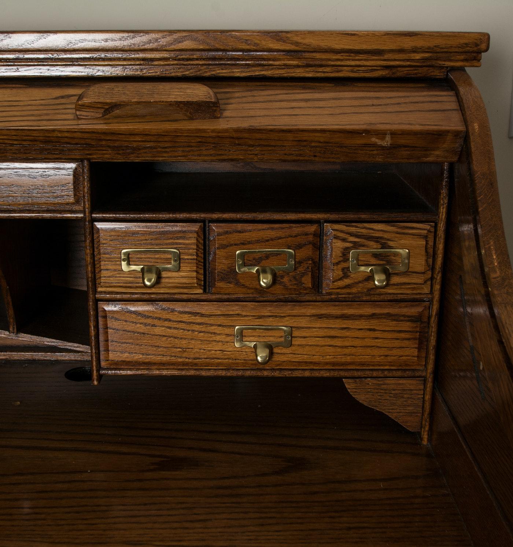 Oak Roll Top Desk By Winners Only Inc Ebth