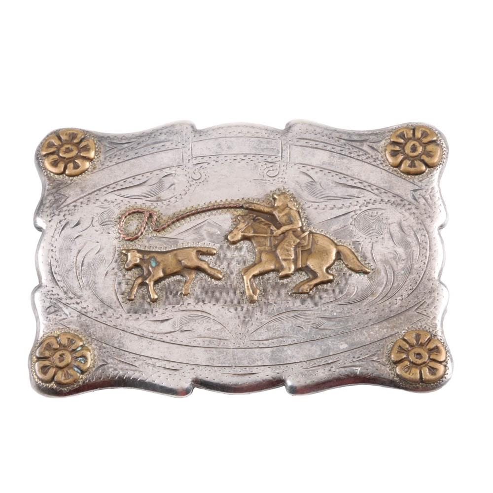 Vintage 1957 Sterling Silver Rodeo Buckle