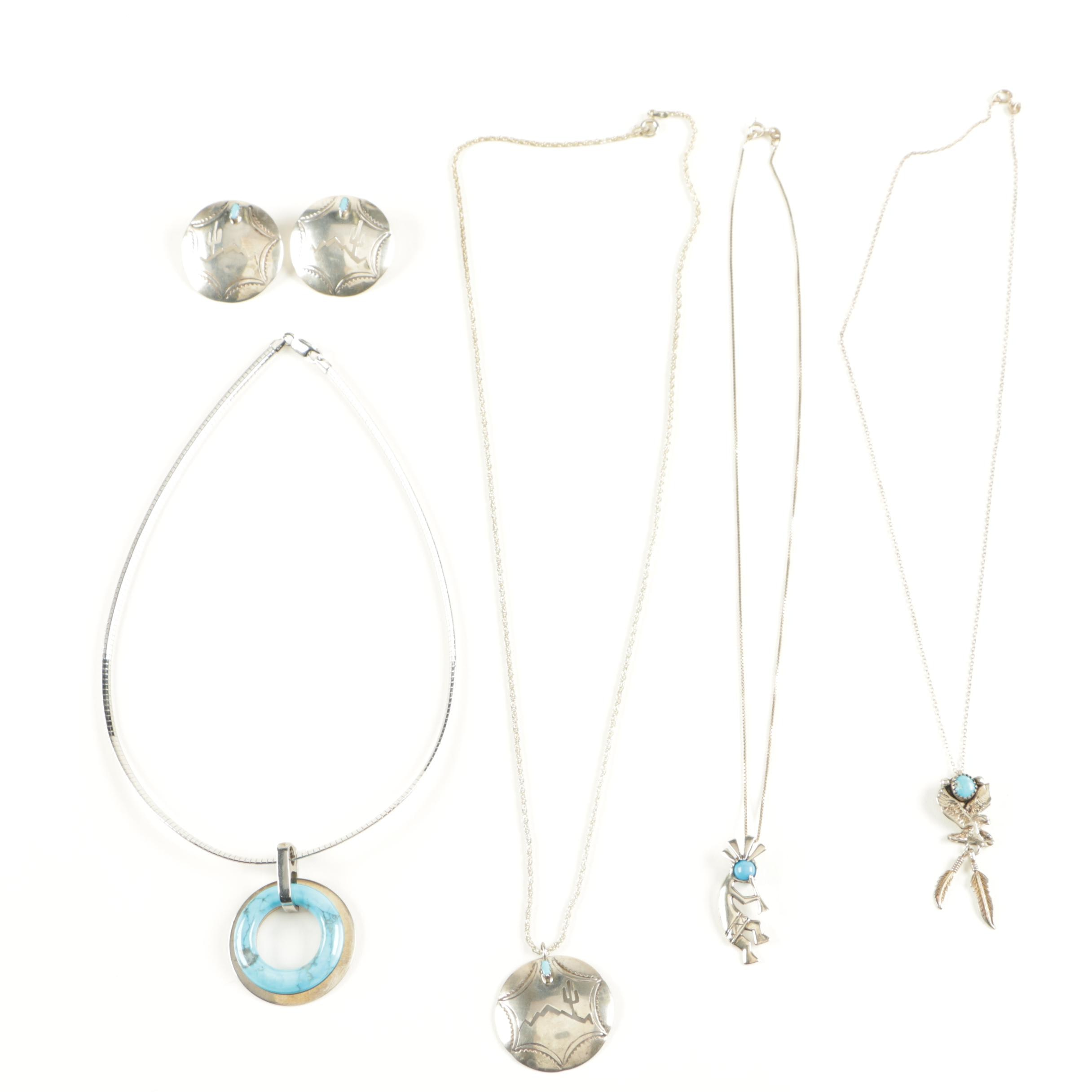 Sterling Silver Turquoise Jewelry Featuring Navajo Silversmiths
