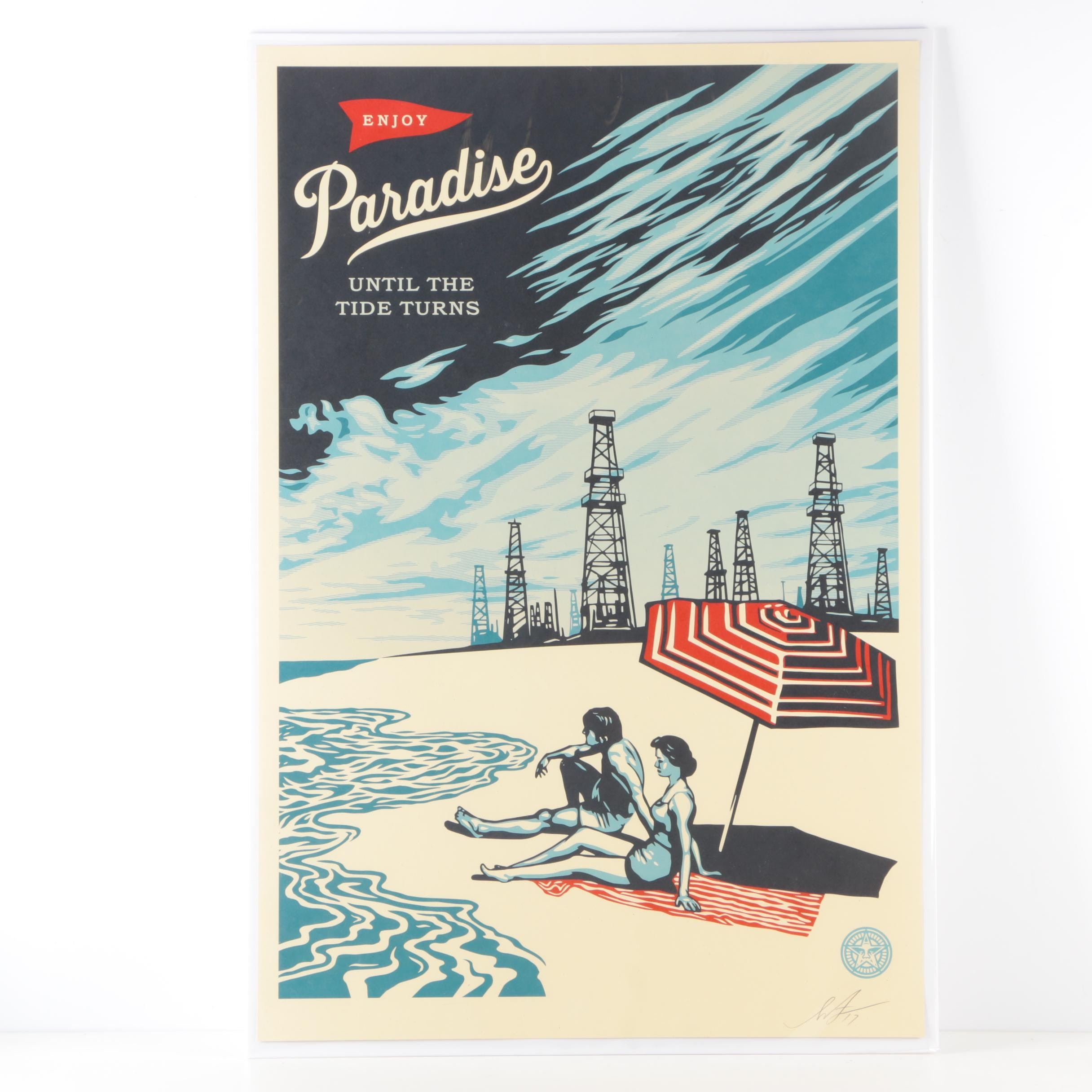 "Shephard Fairey Lithograph on Paper ""Paradise Turns"""