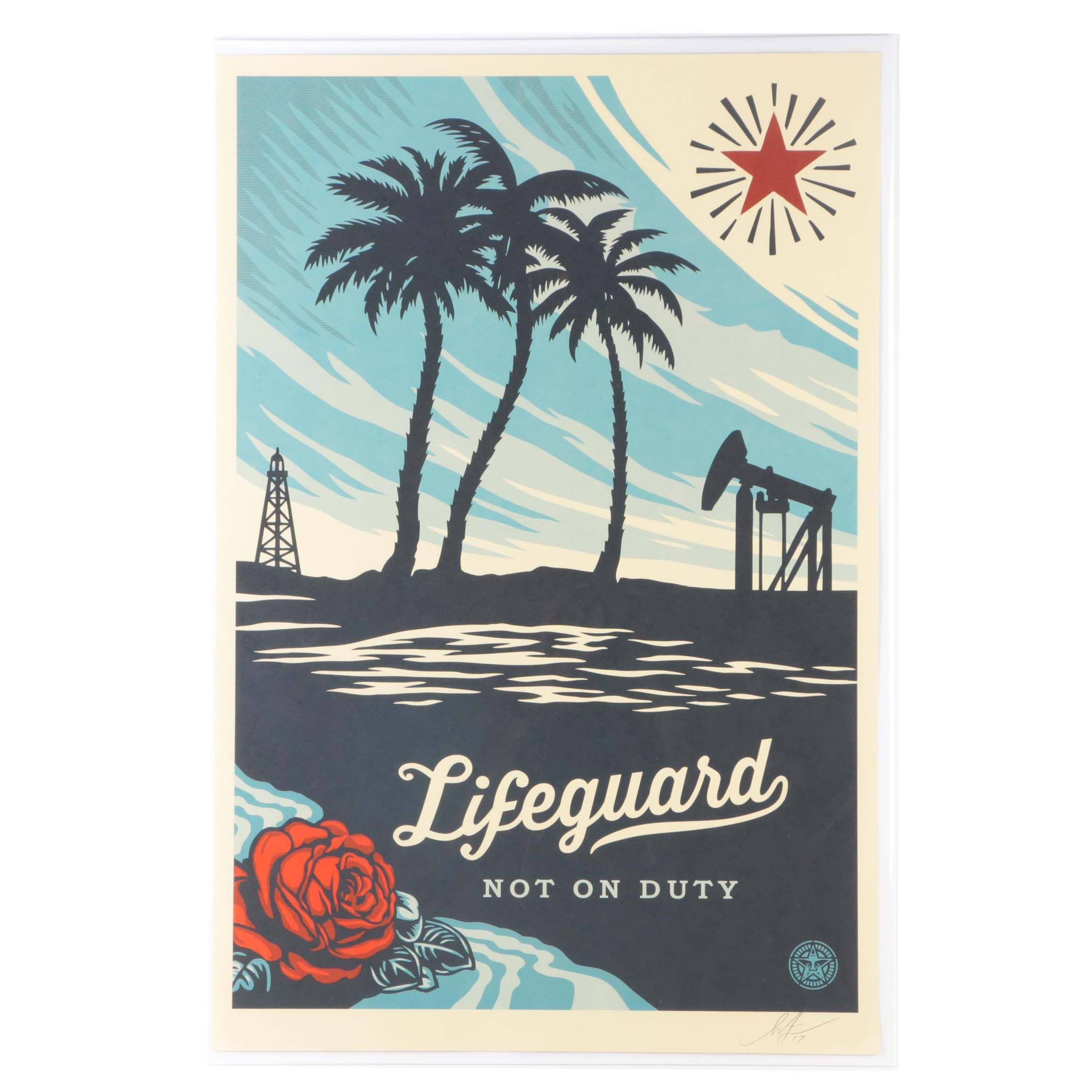 "Shephard Fairey Lithograph On Paper ""Lifeguard Not on Duty"""