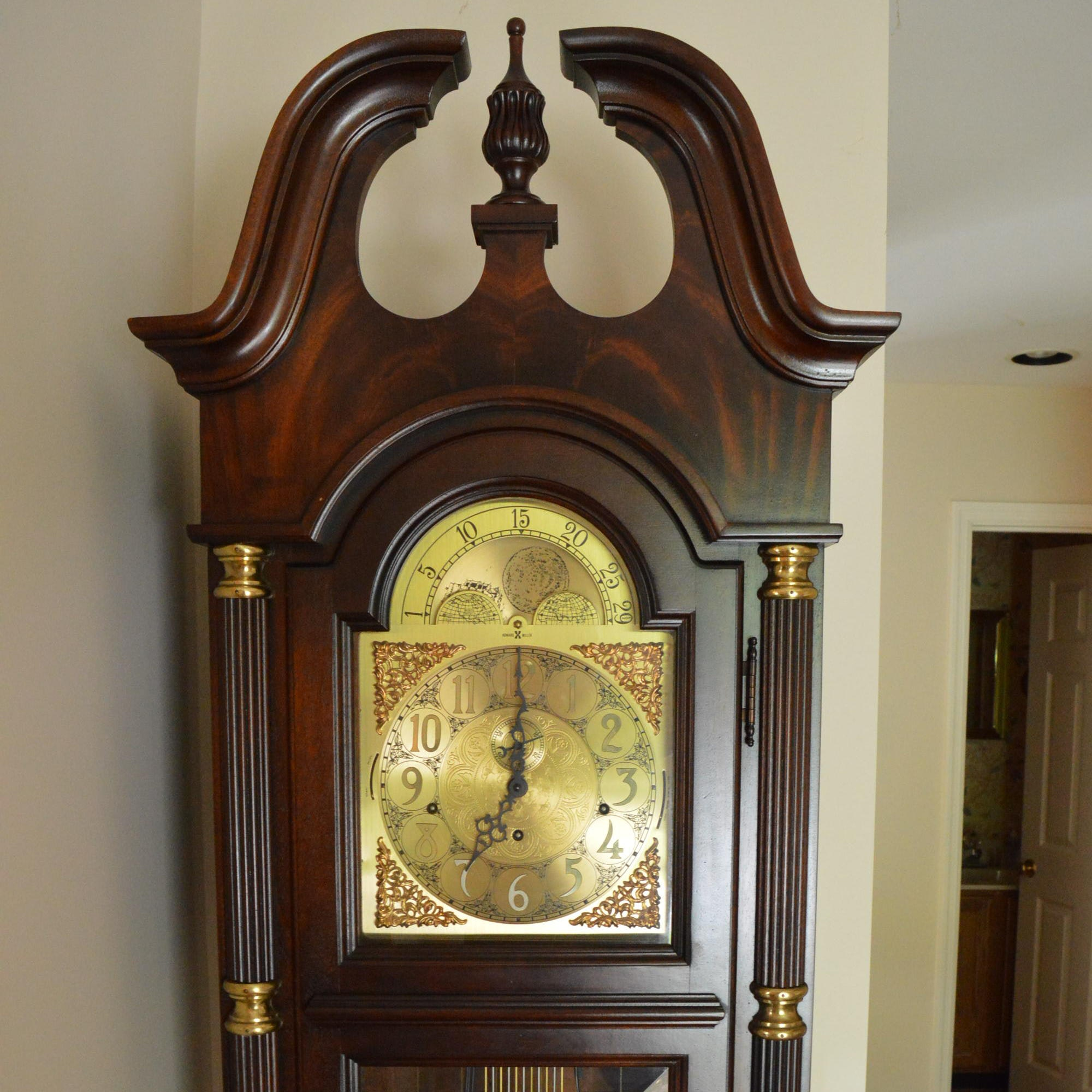 Queen Anne Style Mahogany Grandfather Clock by Howard Miller Clock Co.
