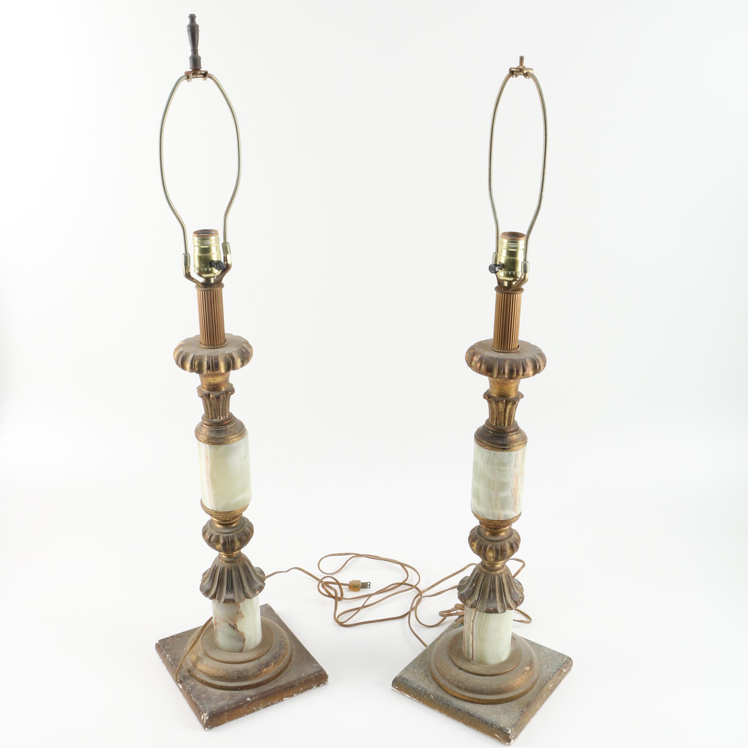 Italian Brass Tone Table Lamps