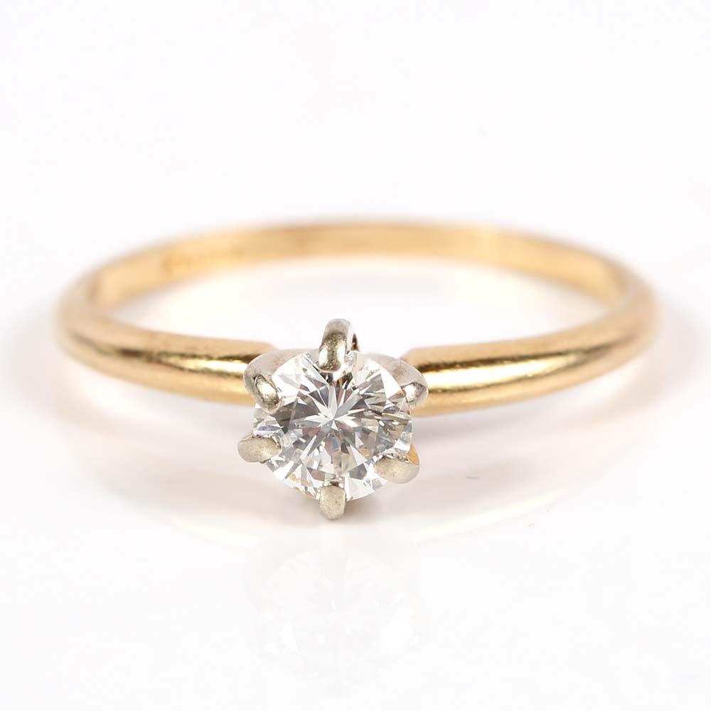14K Yellow Gold Brilliant Solitaire Diamond Ring