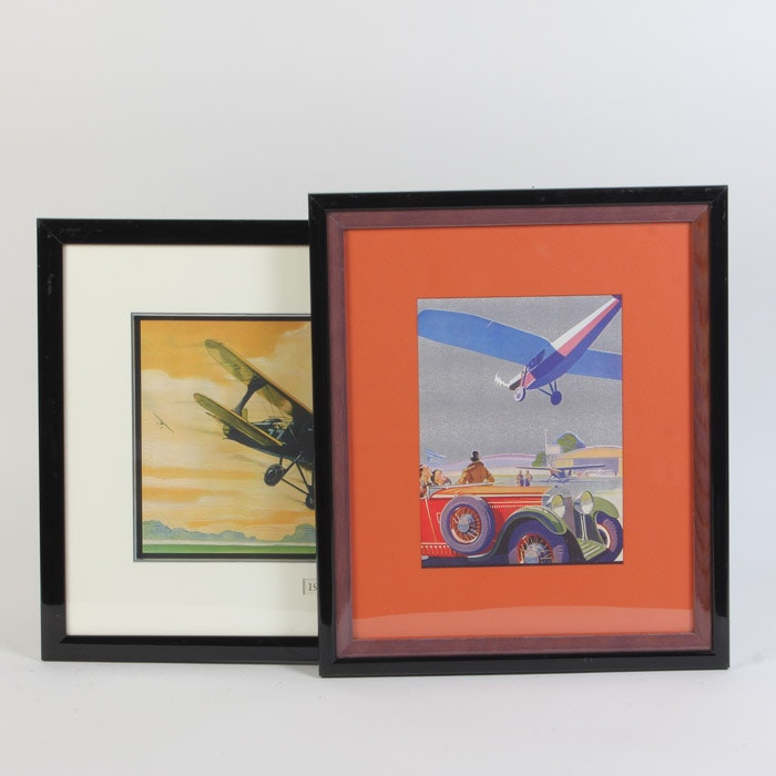 Pair of Giclee Prints After Aviation Themed Art