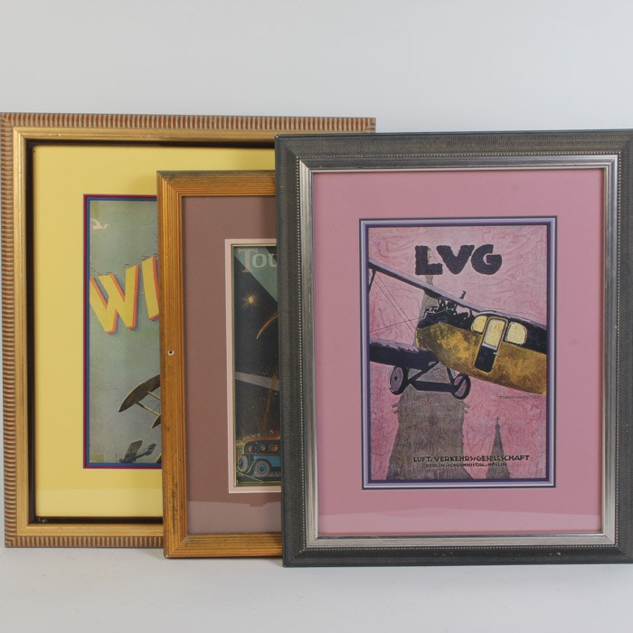 Collection of Giclees After Aviation Themed Prints