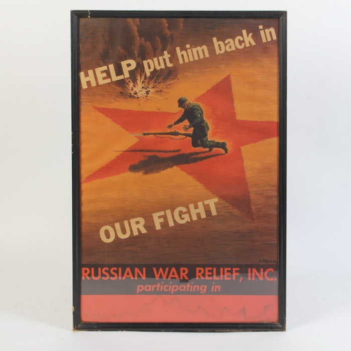 Vintage Offset Lithograph Poster for Russian War Relief Inc.