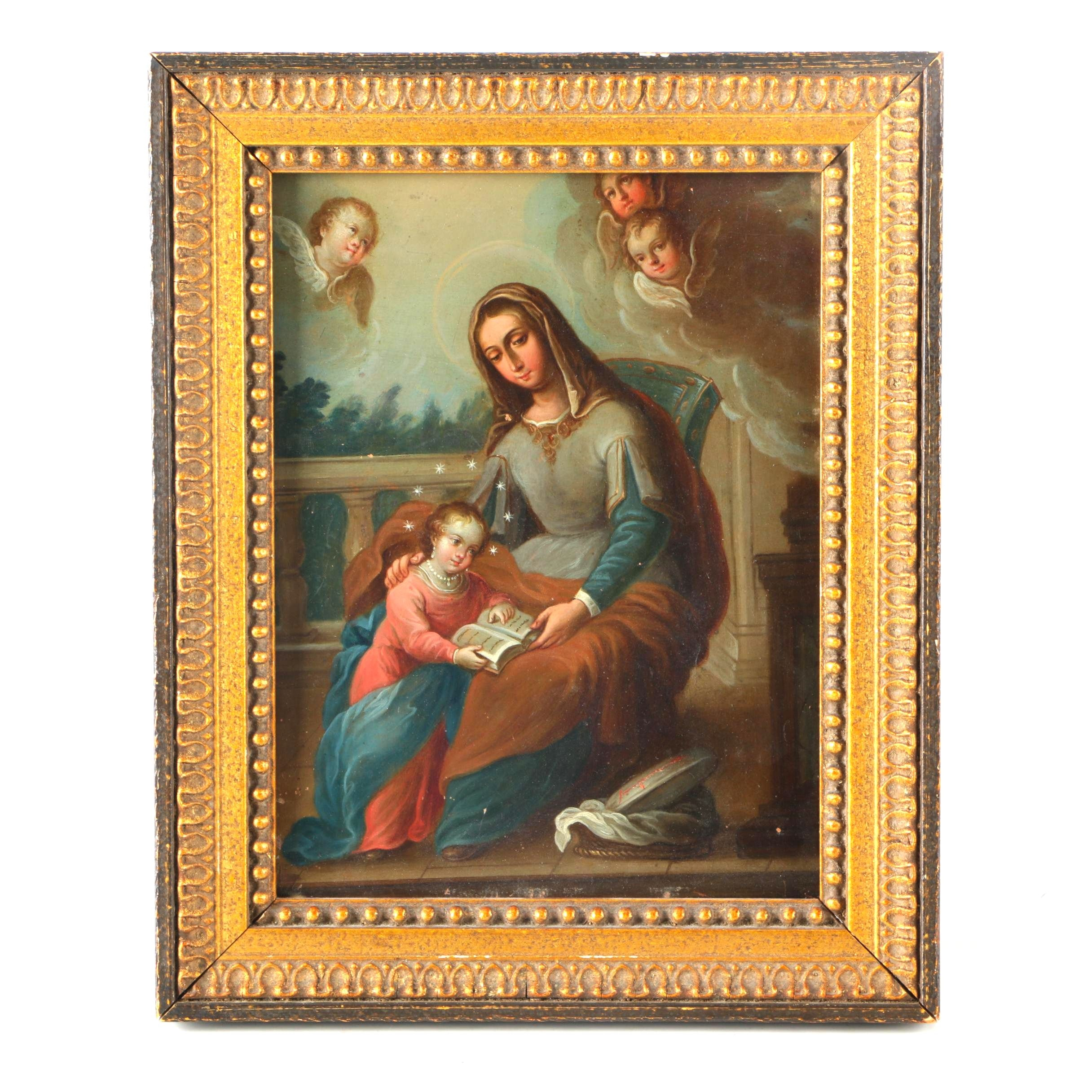 17th Century Oil Painting on Copper of the Madonna and Child