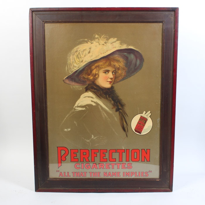 Perfection Cigarettes Original Chromolithograph Advertisement