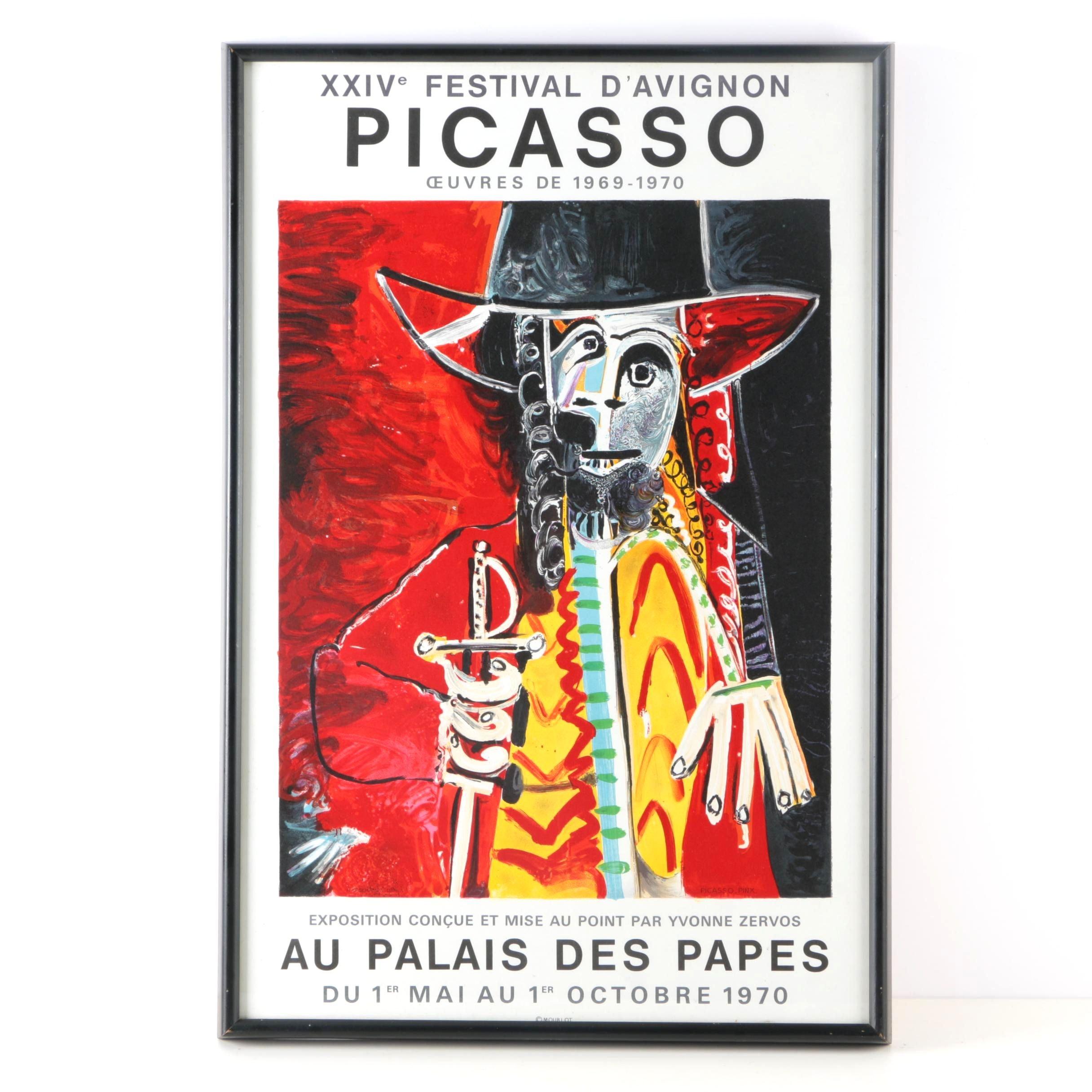 """H. Deschamps Lithographic Poster After Picasso's """"Homme à l'épée"""""""