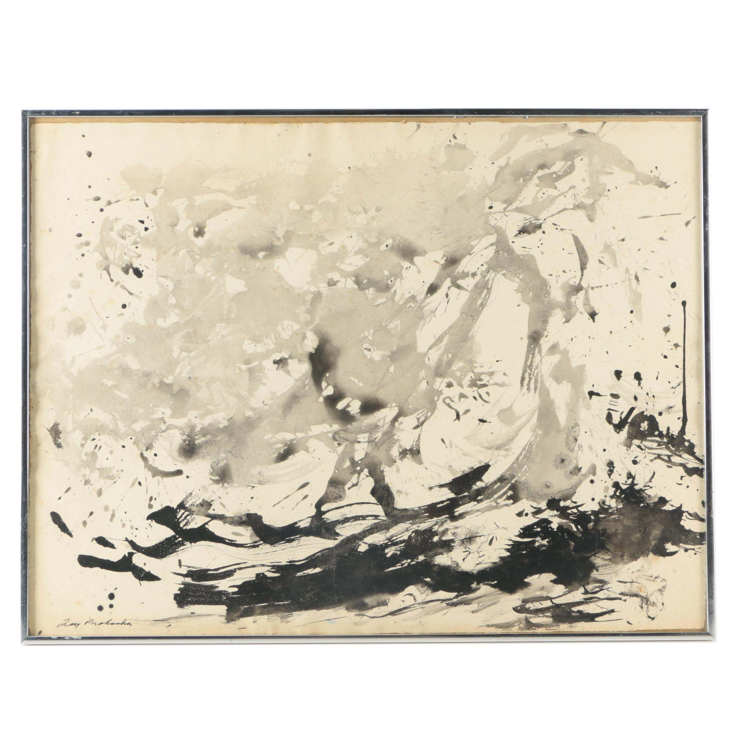 Ray Prohaska Ink Wash Painting on Paper of Abstract Composition