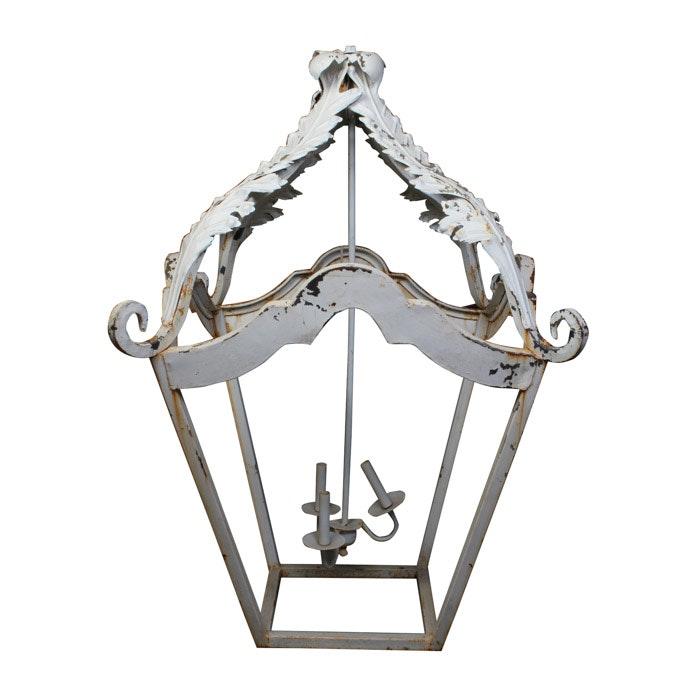 White Cast Iron Lantern Style Chandelier