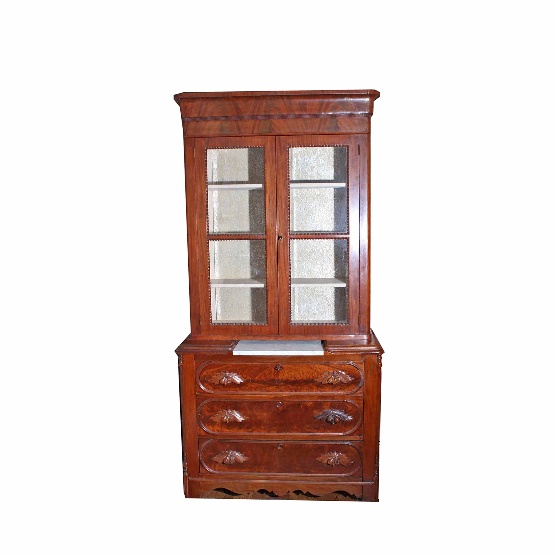 Antique Victorian Style Walnut Chest With Glass Front Display Cabinet