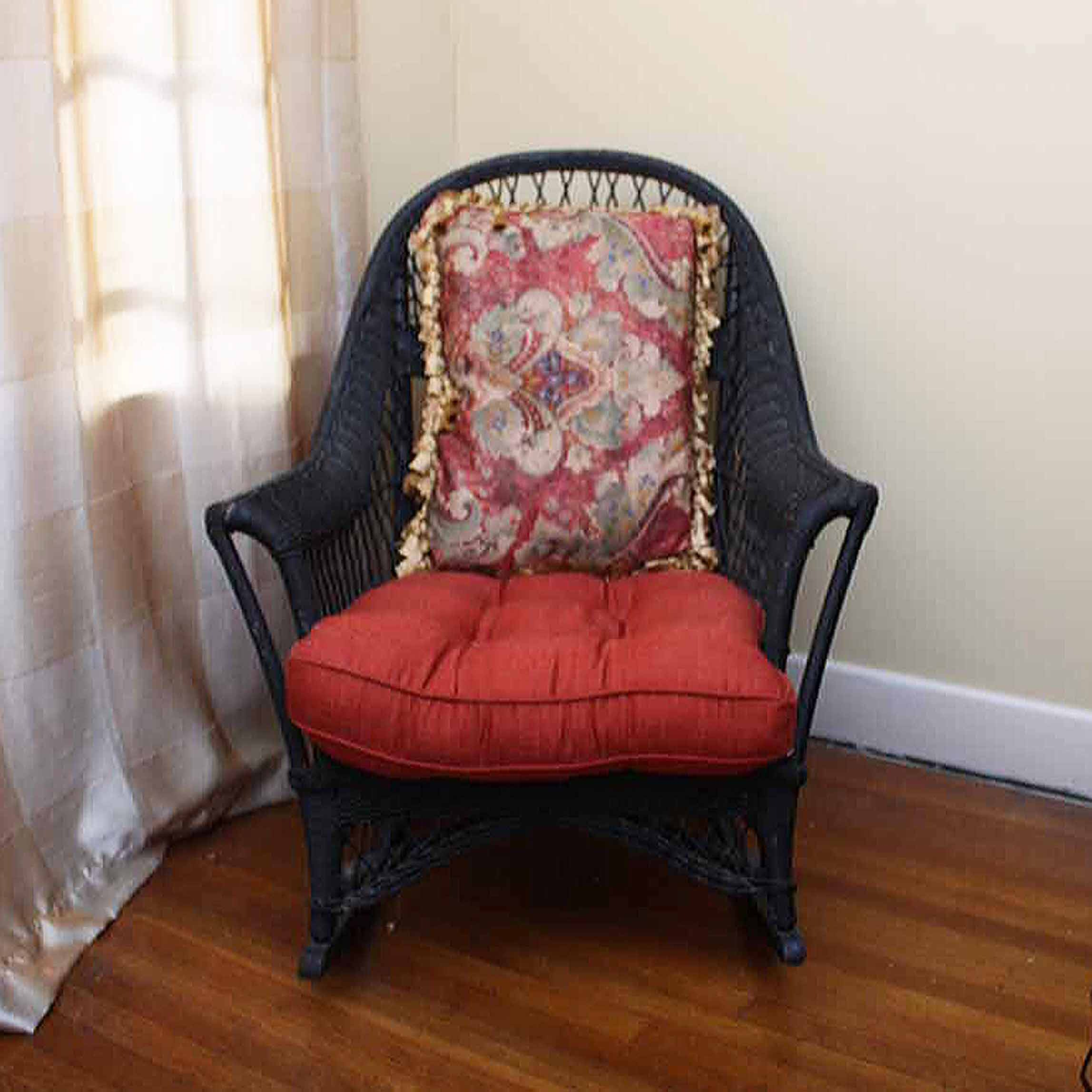 Black Wicker Rocking Chair with Cushions