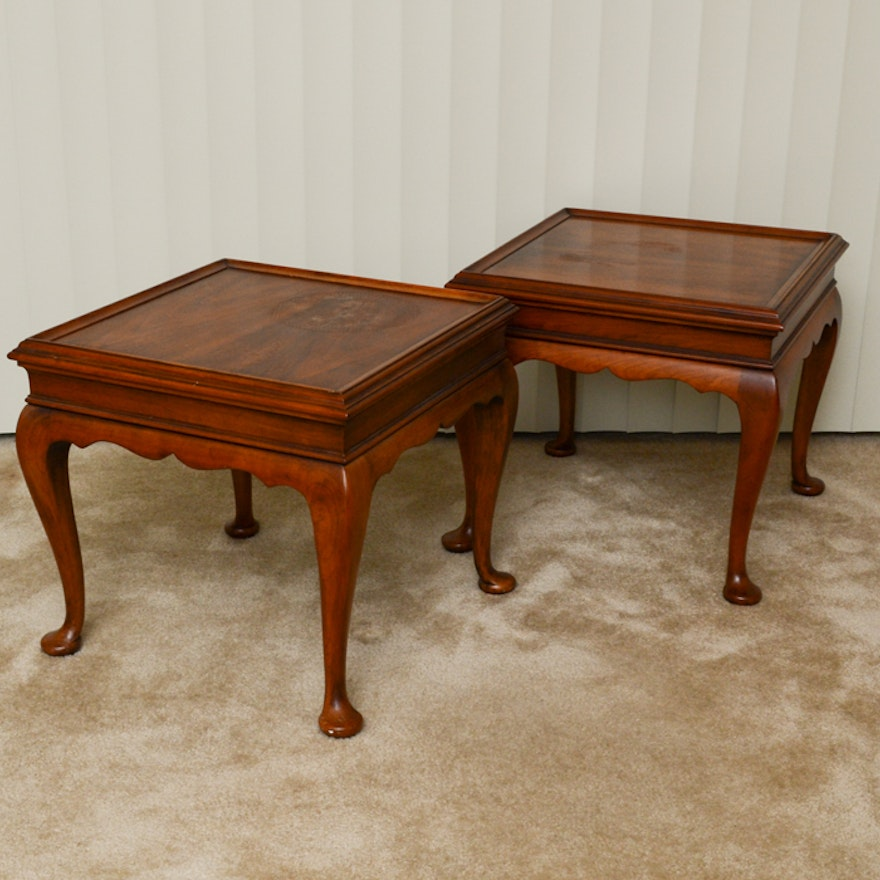 Pair Of Statton Queen Anne Style Cherry Wood End Tables Ebth