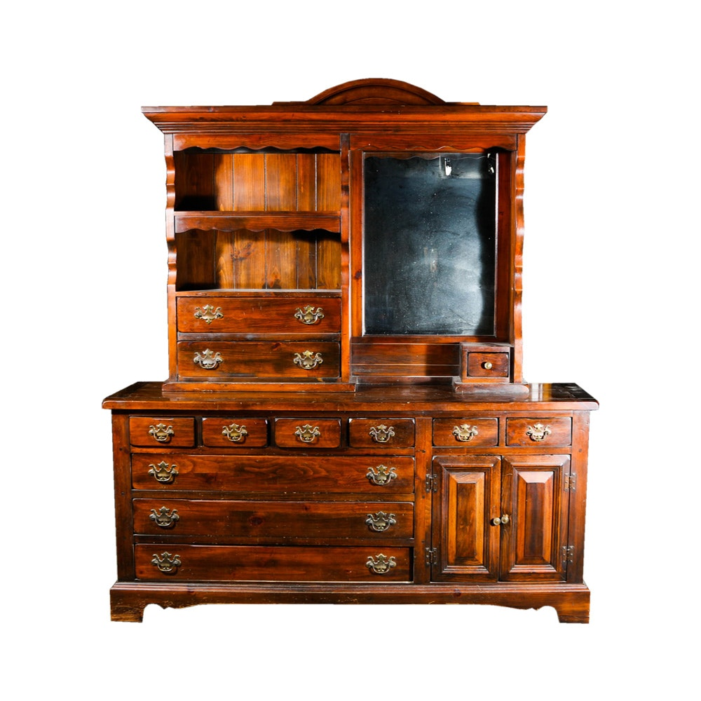 Sears Open Hearth Dresser With Mirrored Hutch Ebth