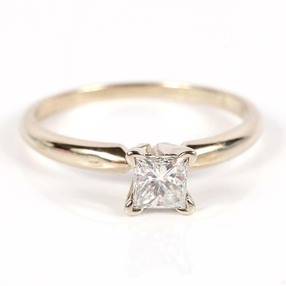 14K White Gold Princess Cut Diamond Solitaire Ring