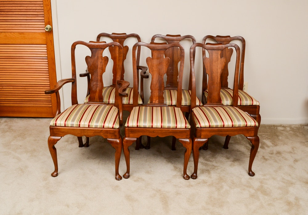 Six Statton Queen Anne Style Handcrafted Cherry Dining Chairs