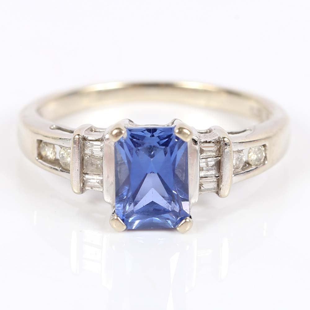 10K White Gold 1.06 CTS Tanzanite and Diamond Ring