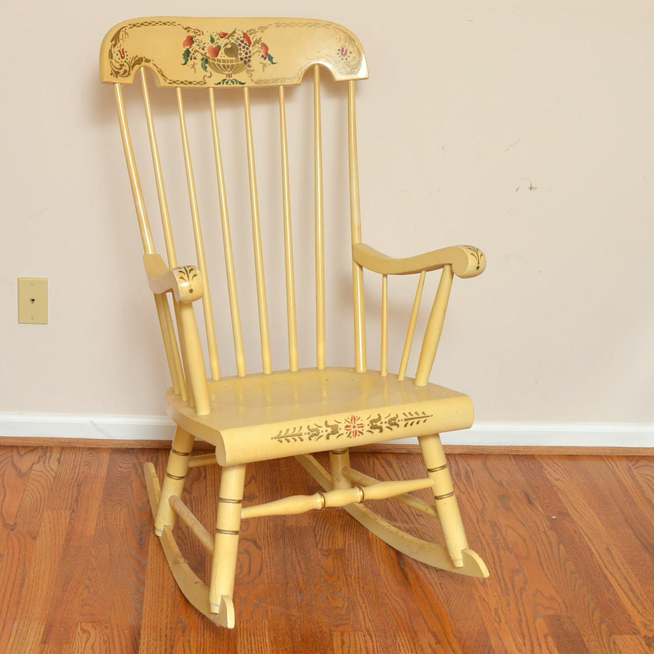 Pale Yellow Hitchcock Style Rocking Chair