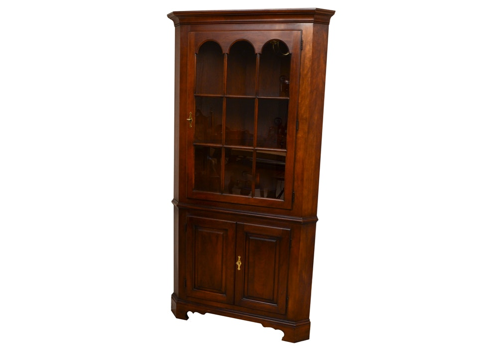 Statton Handcrafted Cherry Illuminated Corner Display Cabinet