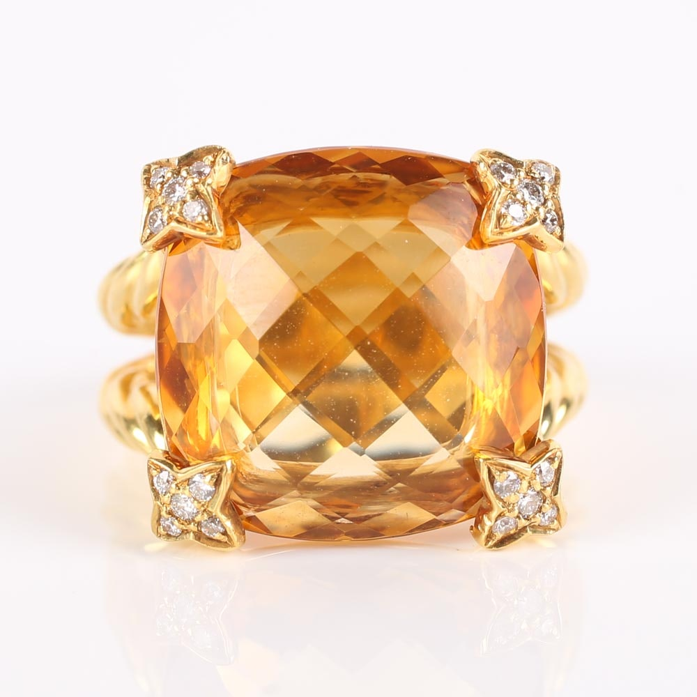 "18K Yellow Gold David Yurman ""Chatelaine"" 7.55 Carat Citrine and Diamond Cable Ring"
