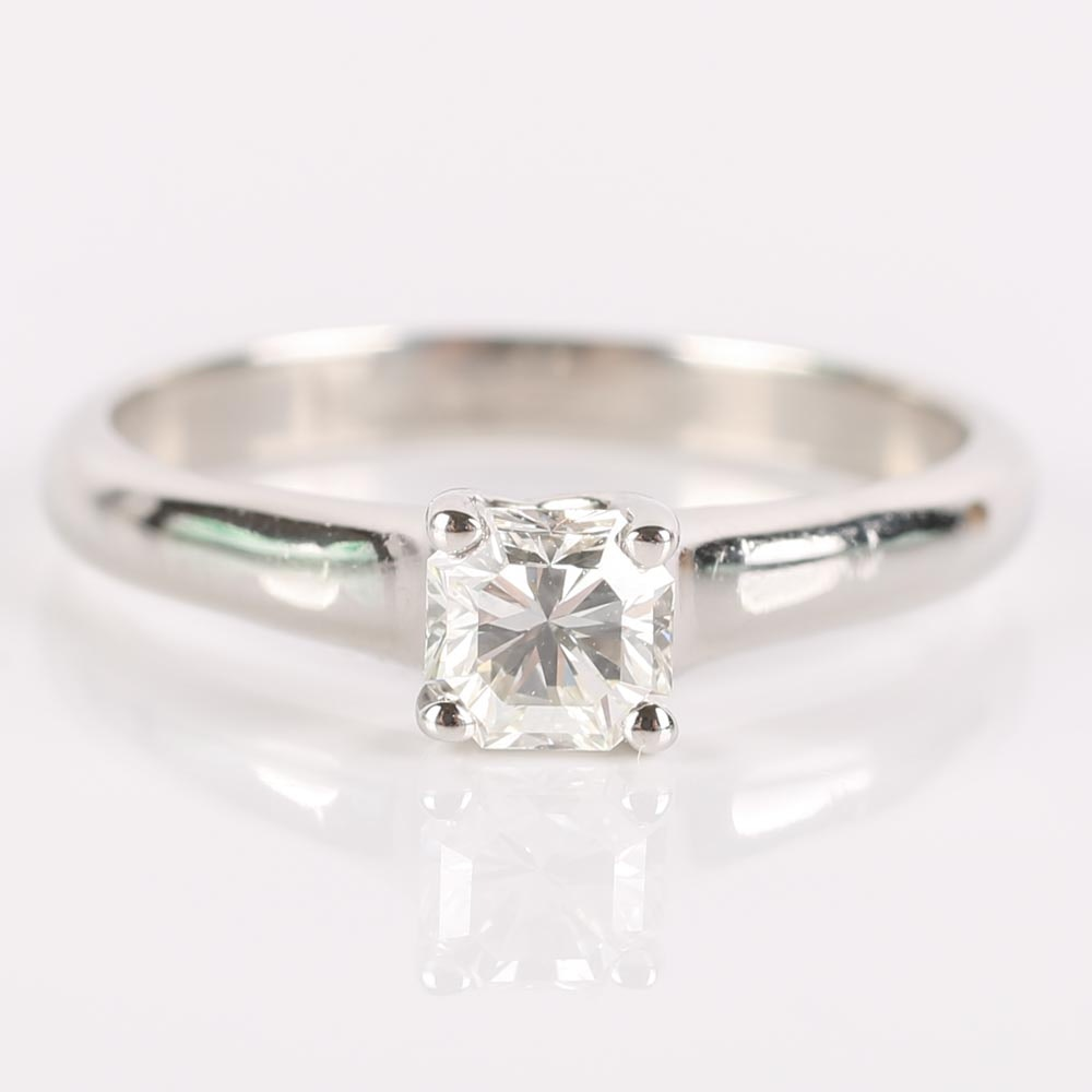 Tiffany & Co Platinum Lucida Cut Square Diamond Ring