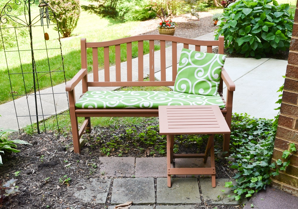 Painted Outdoor Wood Bench With Folding Side Table