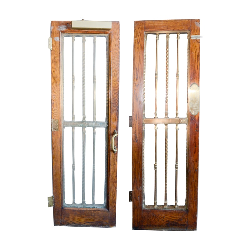 Pair of Glass Paneled Doors with Brass Hardware