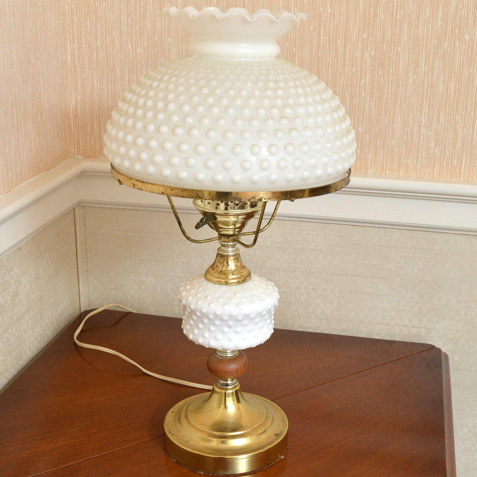 Hobnail Milk Glass Parlor Lamp