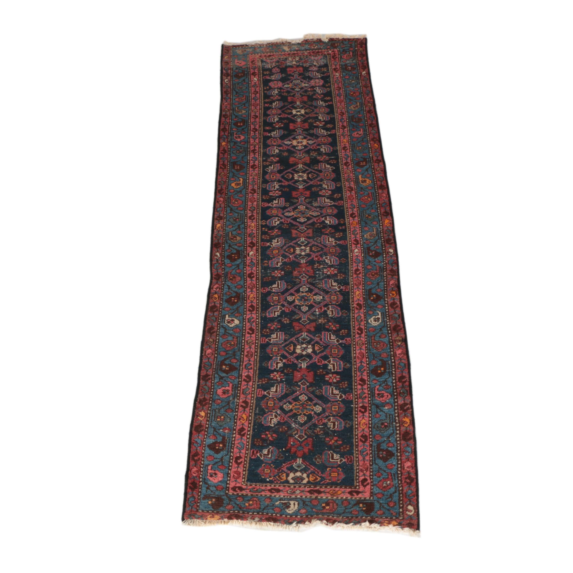 Semi-Antique Hand-Knotted Hamadan Carpet Runner