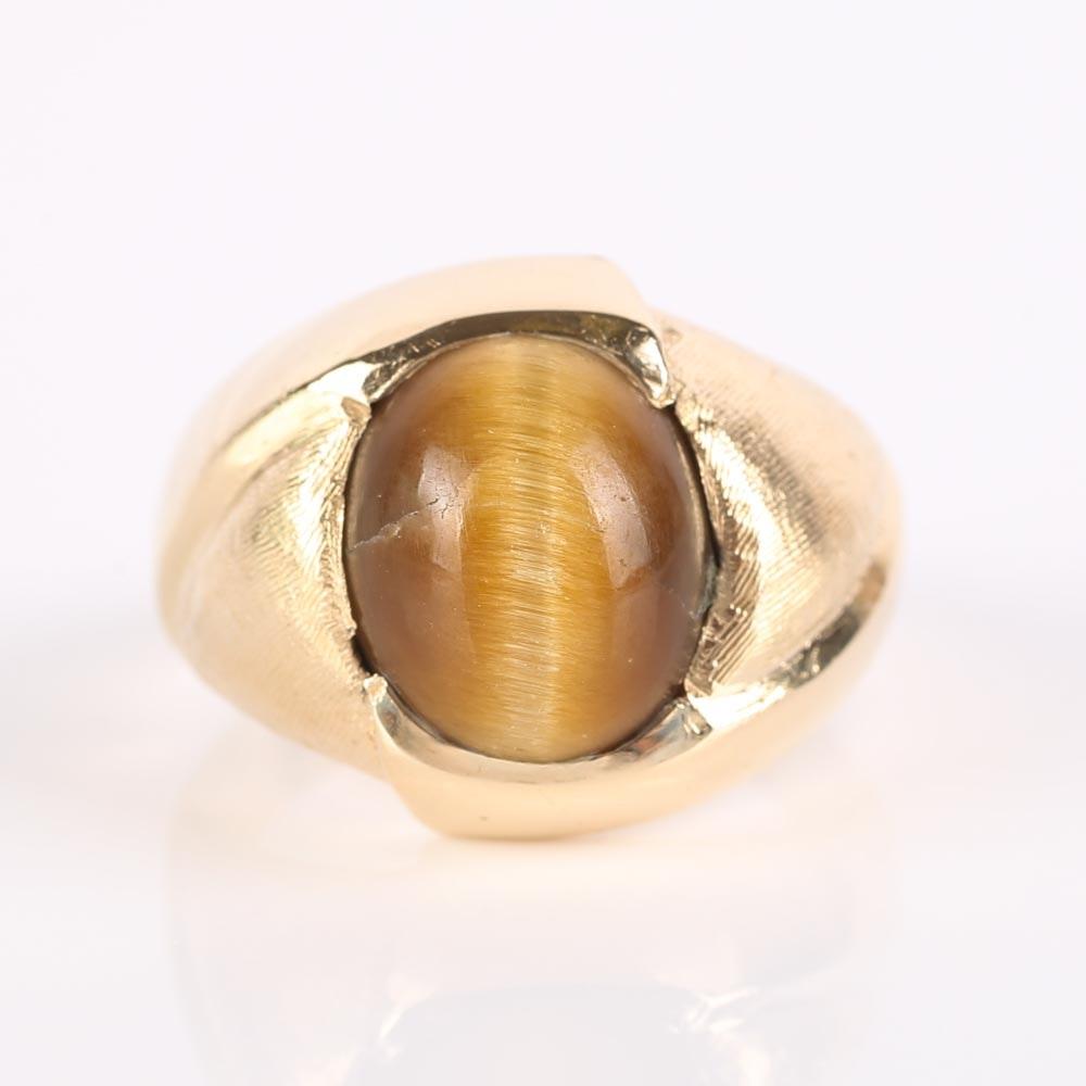 14K Yellow Gold Tiger's Eye Ring