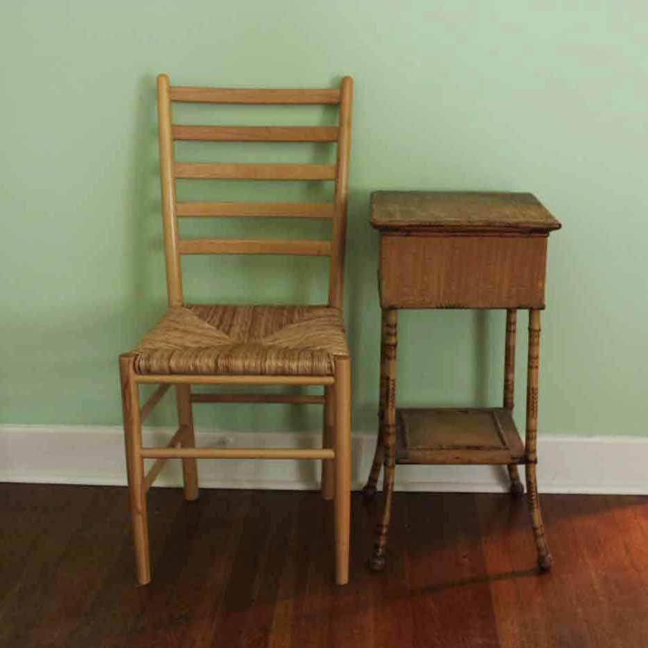 Vintage Sewing Table With Ladder Back Chair